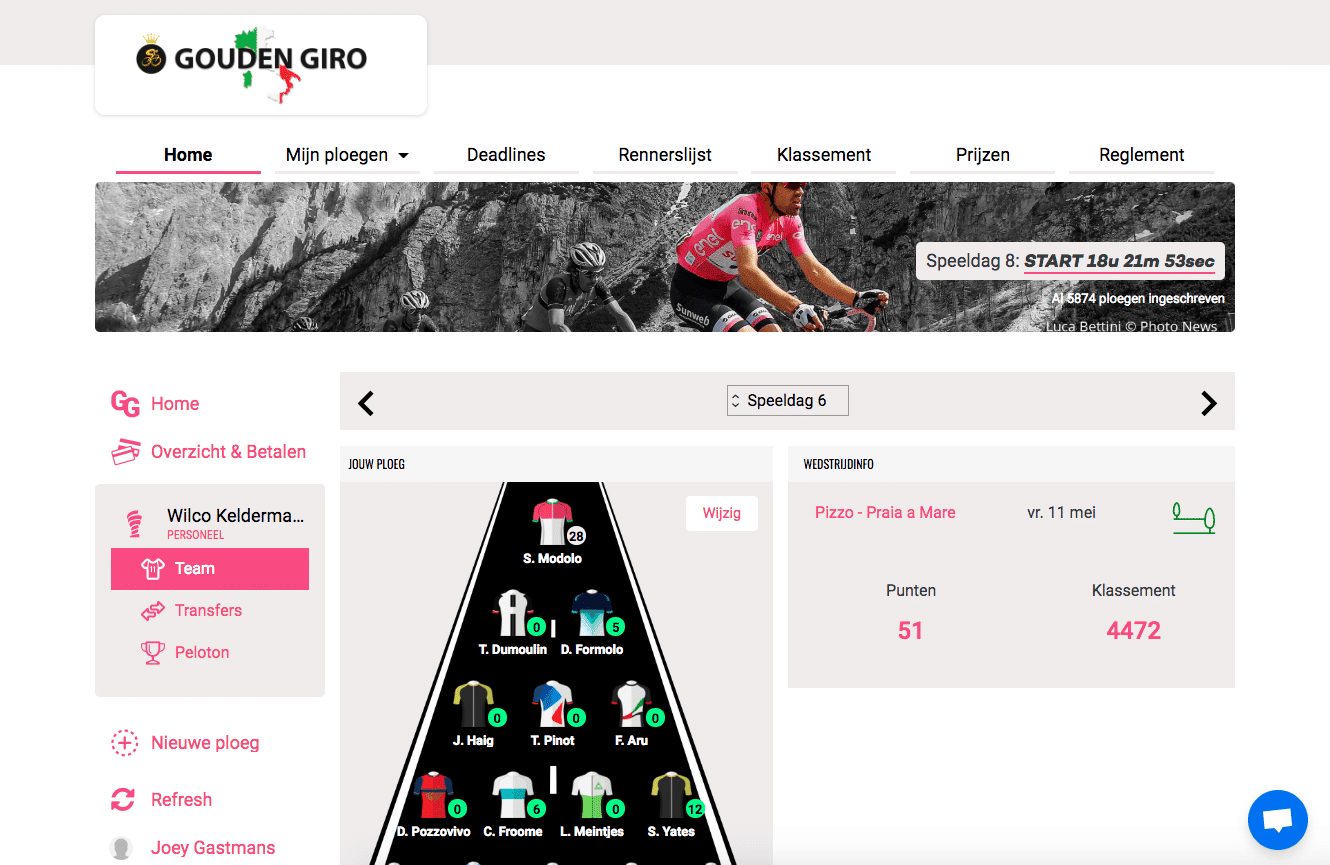 Gouden Giro 2018 fantasy cycling points page