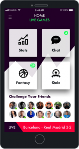 fan engagement during live sports with fantasy sports, quizzes, stats and chat