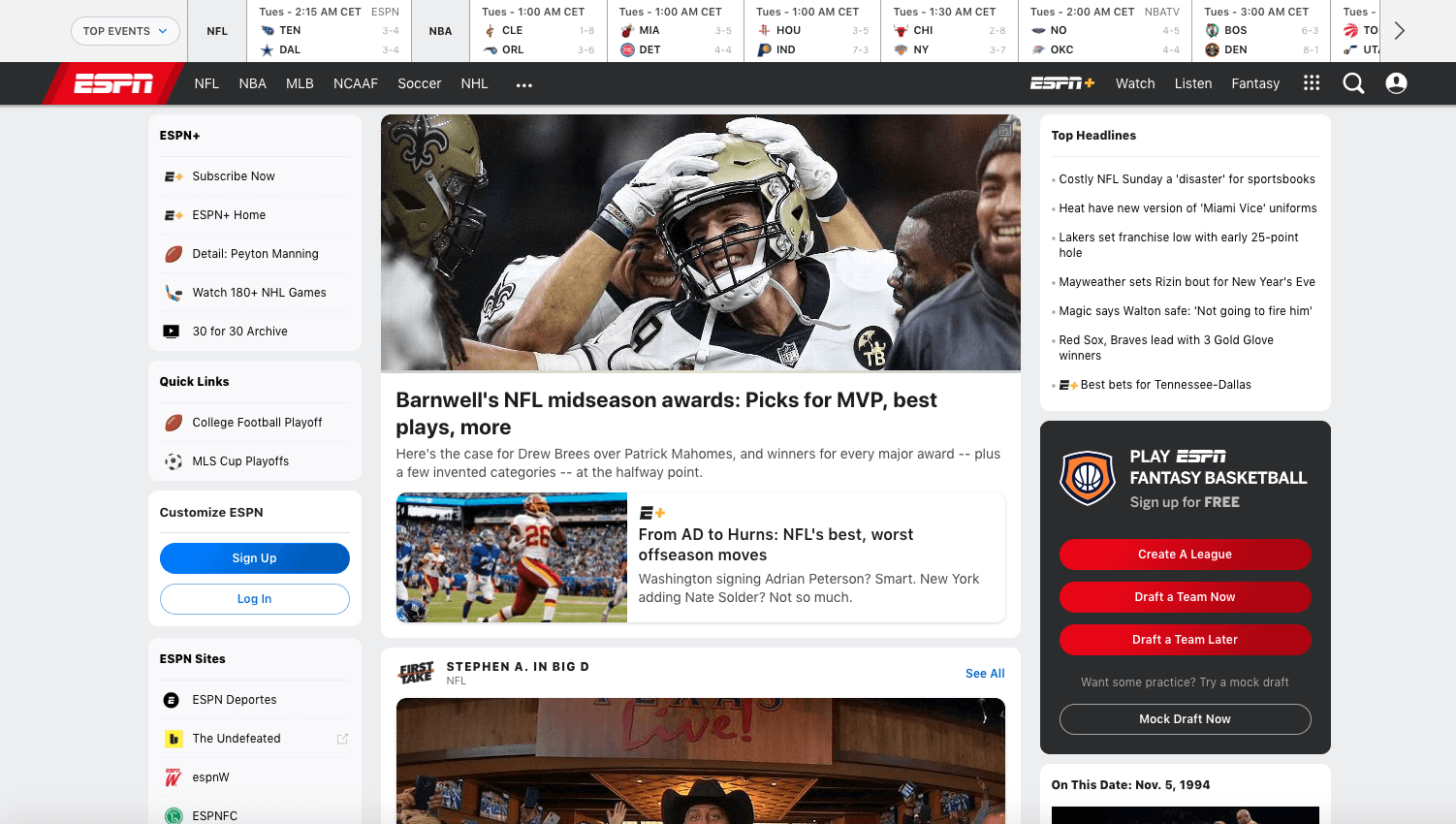 Example of a revenue stream with fantasy sports. Fantasy is an integral part of ESPN.
