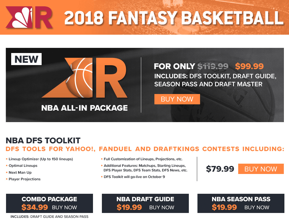 Example of a revenue stream with fantasy sports. NBC's Rotoworld offers in-depth analysis and daily fantasy (DFS) tools as premium content.