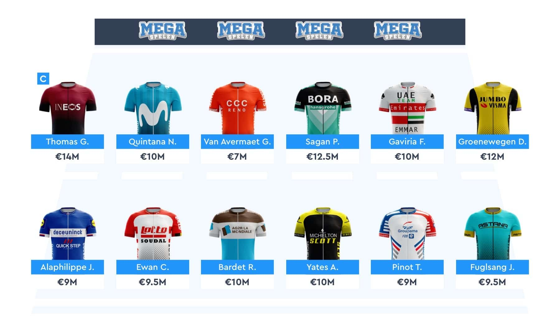 Megabike pick your cyclists