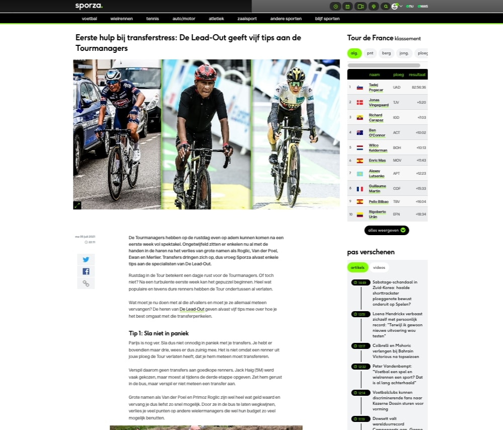 Sporza Tourmanager 5 tips by DeLeadOut