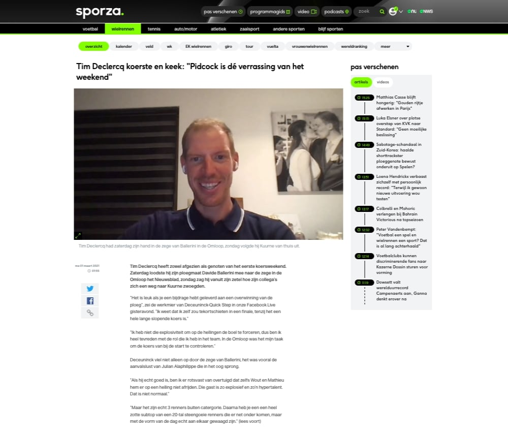 Sporza Wielermanager Tim Declercq